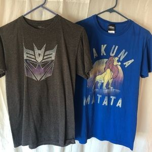 2 Men's t-shirts - Transformers and Lion King